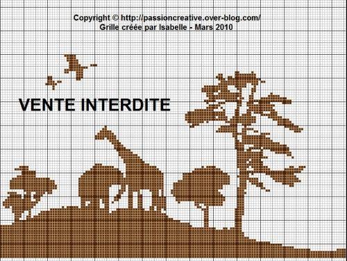 Grille gratuite point de croix : Afrique paysage monochrome | points de croix | Pinterest ...
