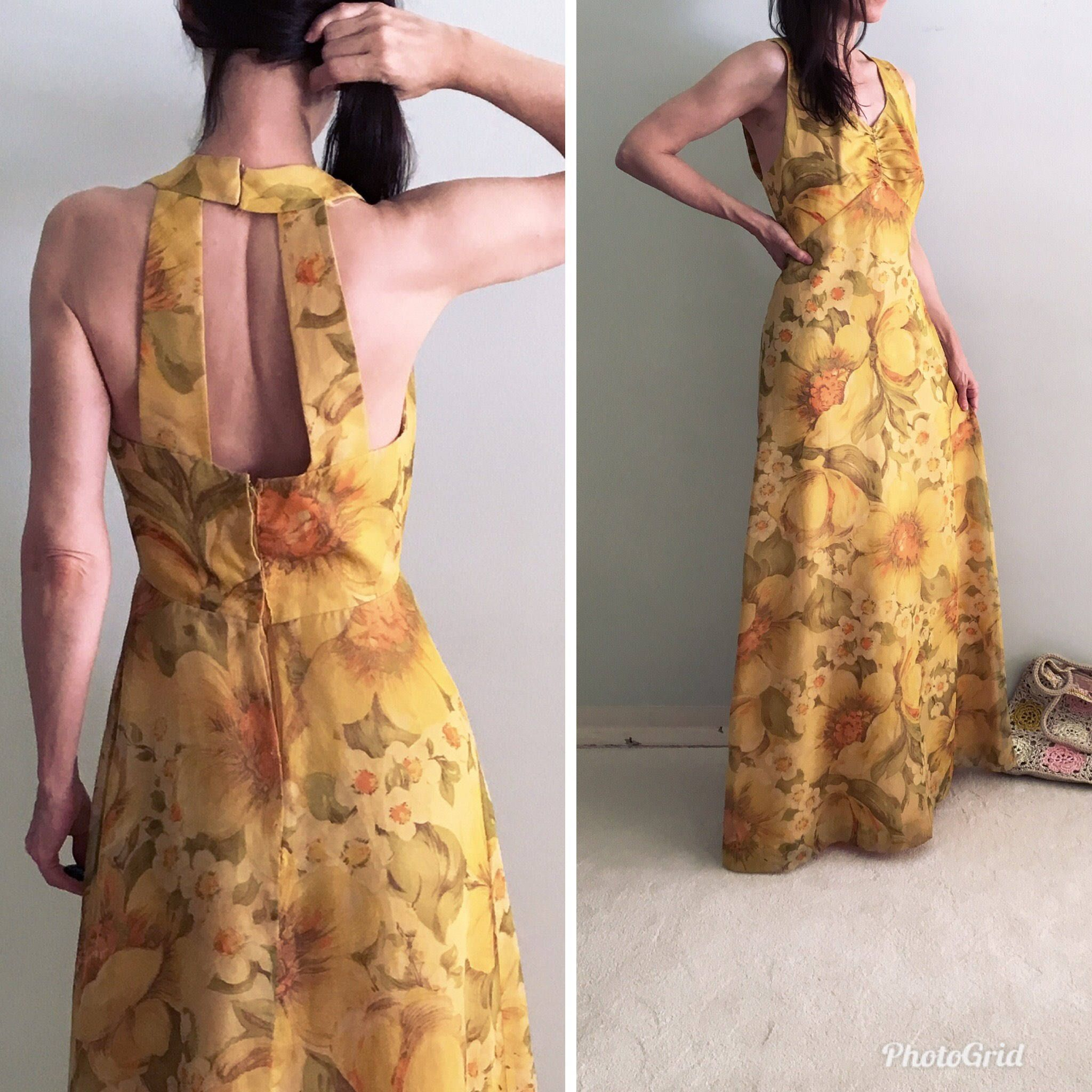 892e58b5587a7 Open back halter 70s boho party dress/women S 4 vintage 60s evening  festival hippie maxi dress/Keyhole sleeveless evening floral long dress by  ...