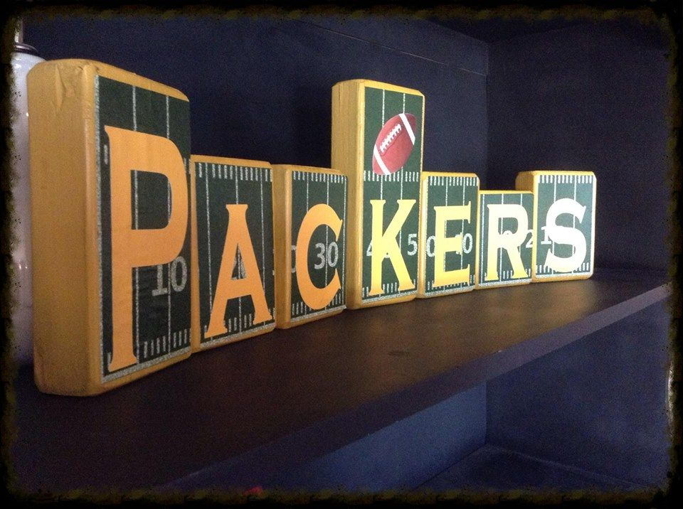 green bay packers blocks and home decor. i make customized blocks