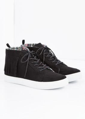 Kick up your shoes game in these stylish high top sneakers. Made of faux suede, they sport fringe trim along the upper and rubberized soles.