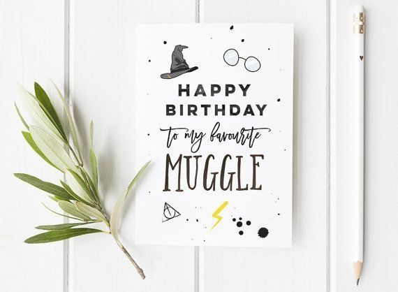 Harry Potter Inspired Birthday Card / Harry Potter / Wizard Birthday Card / Harry Potter Fan / Muggle / Muggle Birthday Card - #/ #Birthday #Card #Fan #Harry #inspired #Muggle #Potter #Wizard