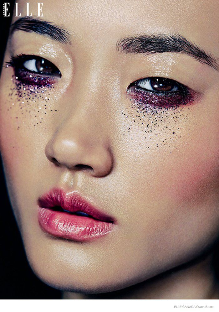 Sparks Fly--Offering luminous makeup looks for the holiday season, the December issue of Elle Canada provides some beauty inspiration with this editorial.