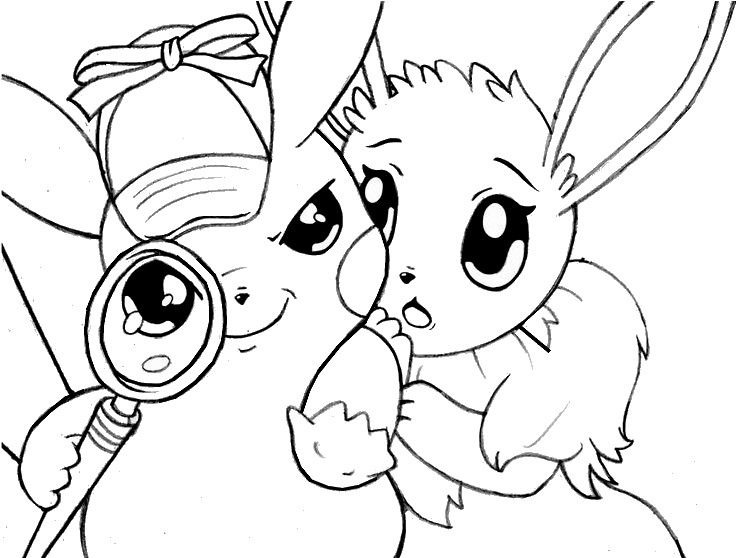 Coloring page Pikachu : Detective Pikachu and Eevee 6 ...