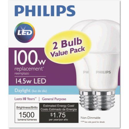 Philips Led 14w 100 Watt Equivalent Daylight Standard A19 Light Bulb 2 Ct Walmart Com In 2020 Led Light Bulb Philips Led Bulb