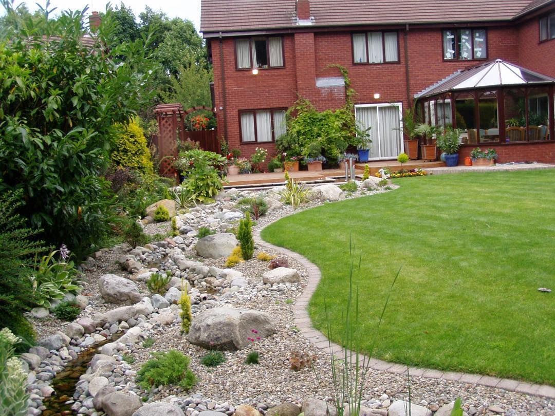 Flowing Stream Connecting House Decking And Lower Garden Patio With Pond Area Actual Landscapes Ltd Patio Garden Pond Garden Store