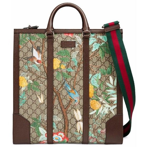 851d9f087f90b0 Gucci Tian GG Supreme Tote ($1,850) ❤ liked on Polyvore featuring bags,  handbags, tote bags, butterfly tote, brown canvas tote, tote handbags, ...