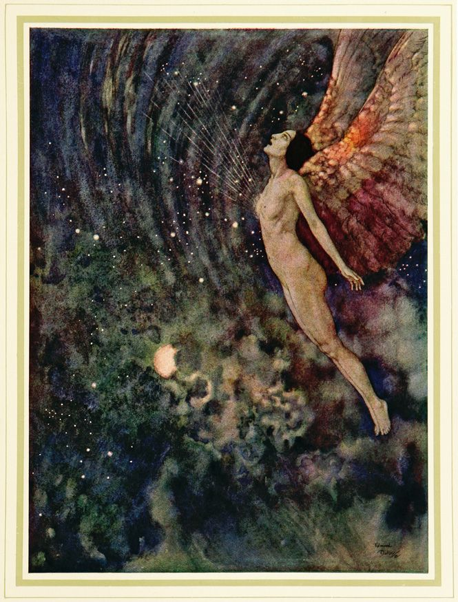 """Illustration for """"Israfil,"""" from """"The Poetical Works of Edgar Allan Poe,"""" by Edmund Dulac, 1900."""