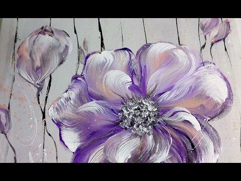 Einfach Malen Blumen Acrylmalerei Easy Painting Flowers Acrylic Painting Youtube Flower Painting Easy Flower Painting Painting