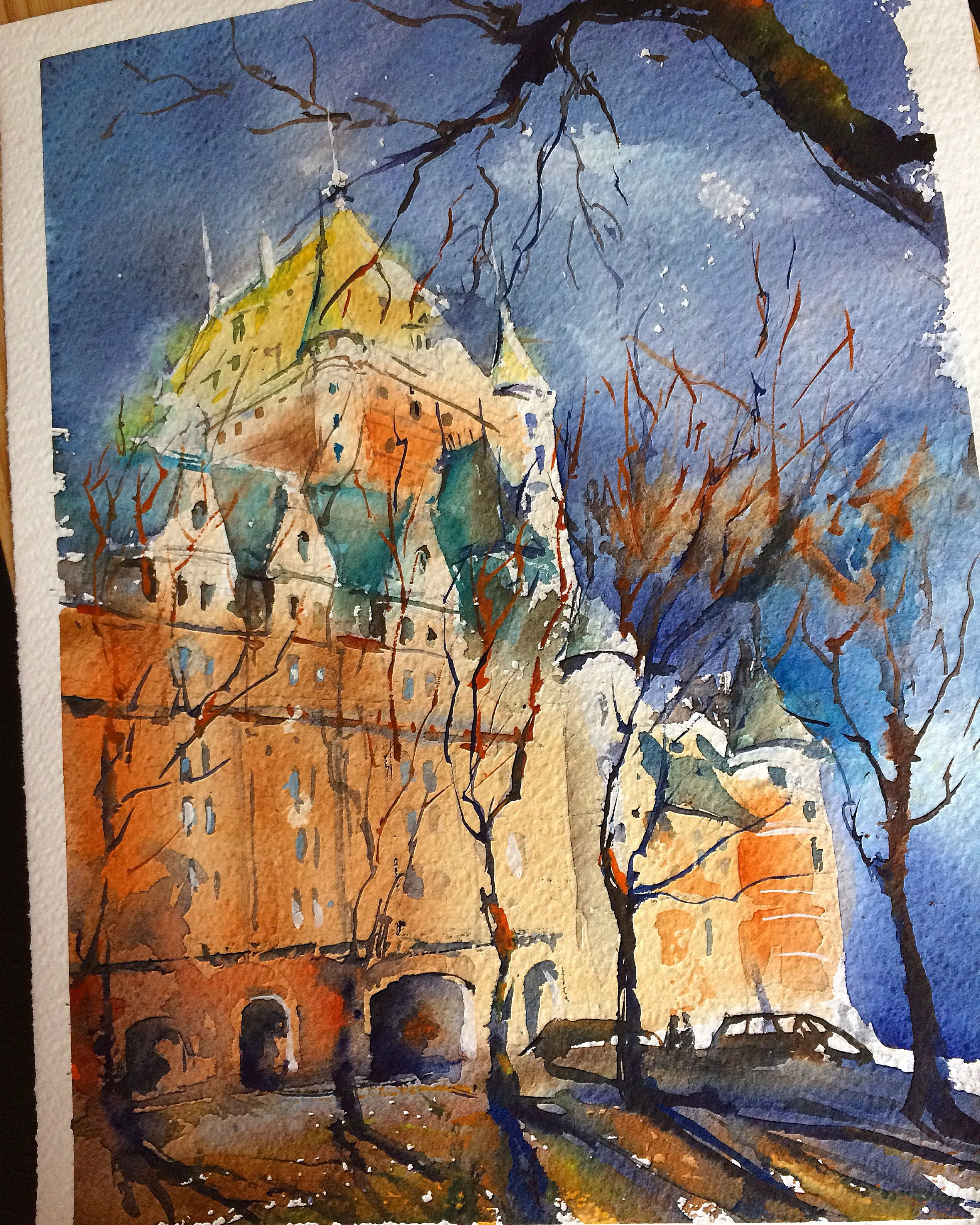 Hanna Zahorna Watercolour Painting Of Quebec City 2017