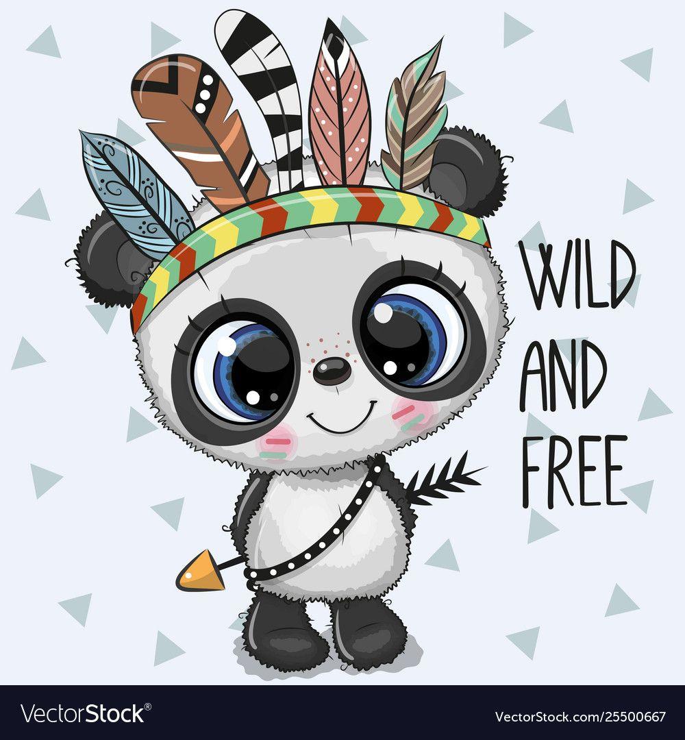 Cute Cartoon Tribal Panda With Feathers Royalty Free Vector Cute Cartoon Cute Cartoon Animals Cute Panda Wallpaper