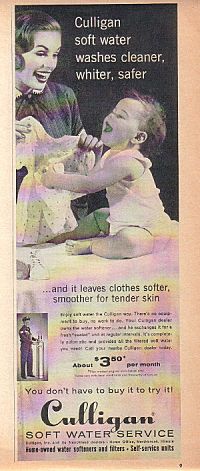 1950 S Culligan Soft Water Mother Baby Ad Image1 Baby Ads Culligan Retro Ads