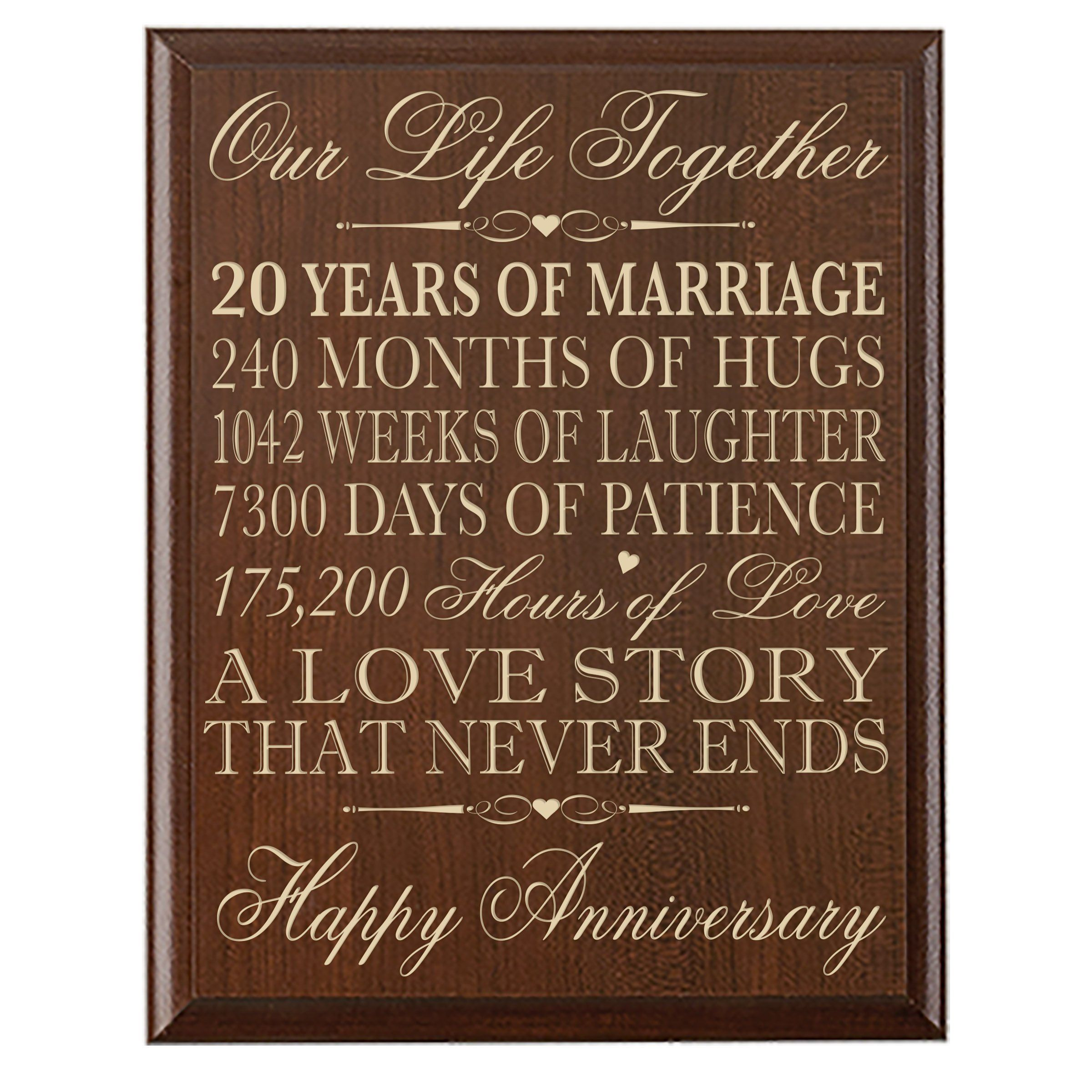 20th Wedding Anniversary Wall Plaque Gifts