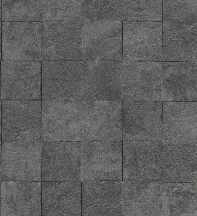 Papel pintado azulejos imitacion piedra pizarra gris - Papel pintado sobre azulejos ...