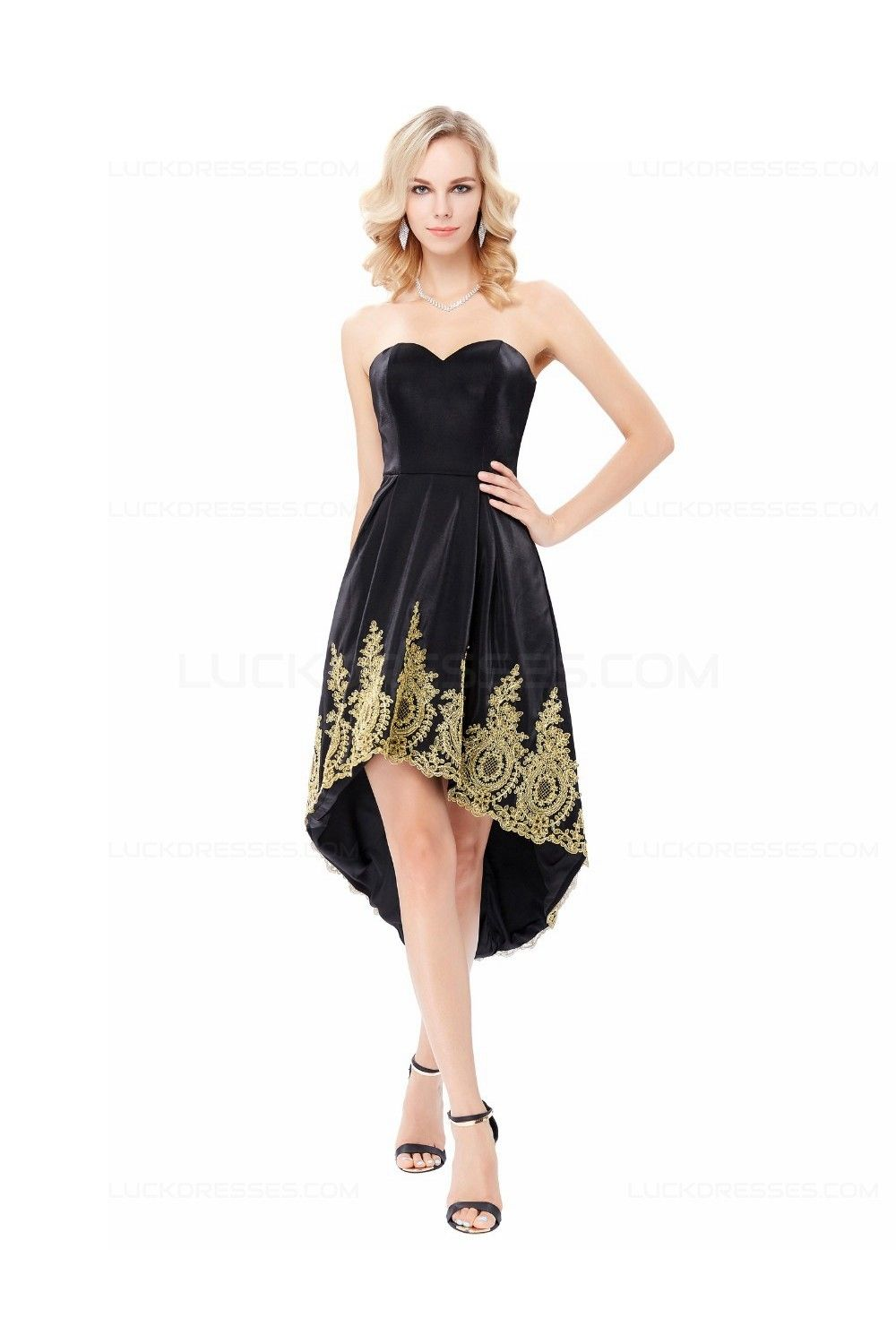 2a75fdfe7cc0 High Low Sweetheart Short Black Gold Lace Appliques Prom Dresses Party  Evening Gowns 3020291