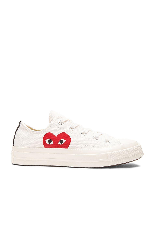 60020ace1fed COMME DES GARÇONS PLAY Large Emblem Low Top Canvas Sneakers.   commedesgarçonsplay  shoes