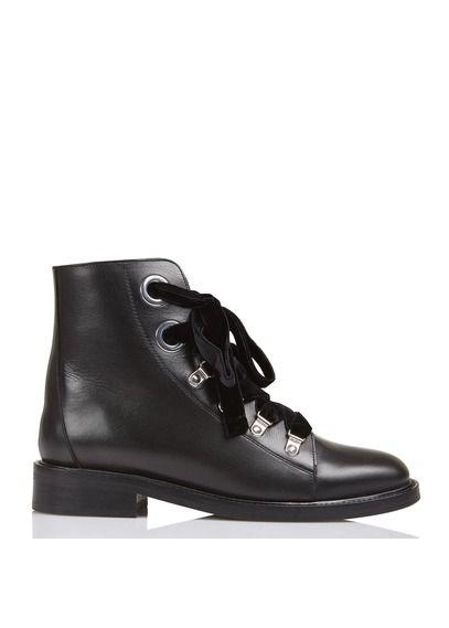 Boots en cuir à lacets velours Noir by CLAUDIE PIERLOT   Yasmine ... 68011ce1b84d