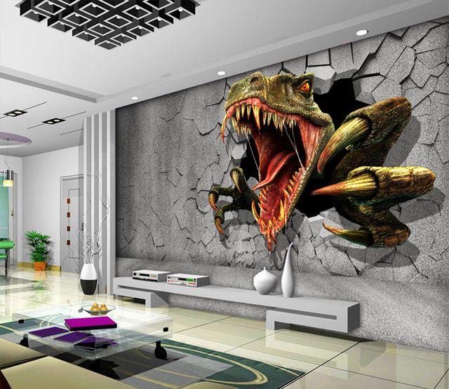 3D Dinosaur Wallpaper Personalized Custom Wall Murals Jurassic Park Photo wallpaper Kids Boys Bedroom Office Shop Art Room decor