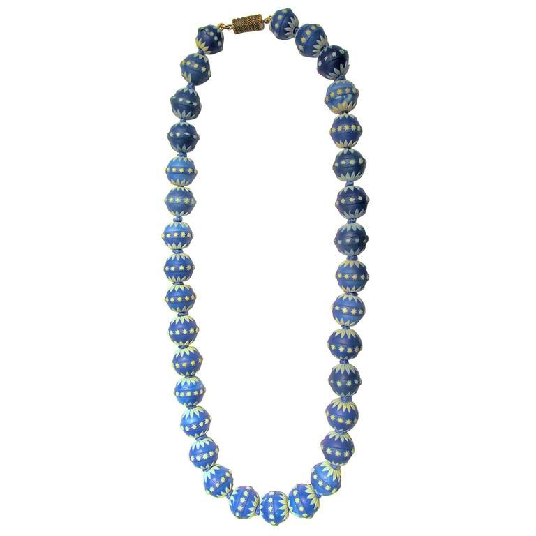 Antique Wedgwood Bead Necklace | From a unique collection of vintage beaded necklaces at https://www.1stdibs.com/jewelry/necklaces/beaded-necklaces/