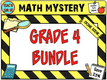 This Bundle Includes 4 math mysteries for Grade 4.Buy 4 for the price of 3!   The Case of the Missing Tart Math Mystery Find out where in Wonderland the missing plate of tarts has been hidden. The Case of the Grave Robber Math MysteryIdentify who has hidden all your Halloween party things.