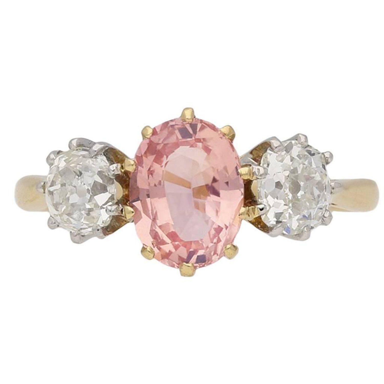 Padparadscha sapphire and diamond threestone ring circa my