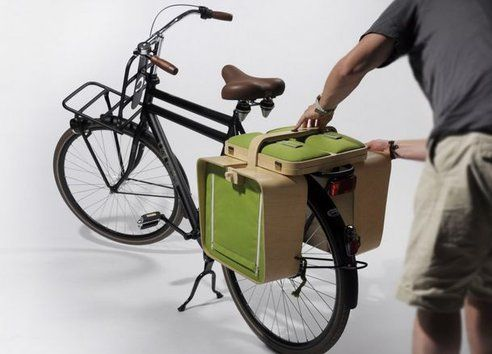 Transformer Bike Panniers Tote A Table, Chairs : TreeHugger
