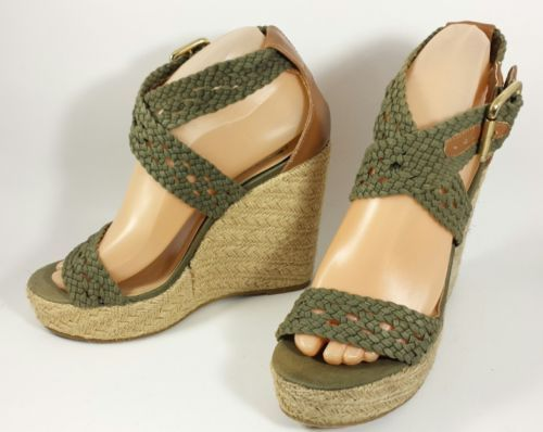 9461a6f226c Steve Madden P-River Braided Espadrille Wedge Olive GREEN Womens 7.5 ...