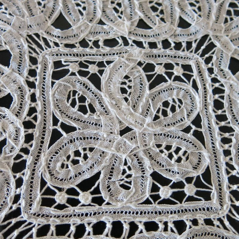 White Battenberg Lace Square Doily 968a by ShurleyShirley on Etsy