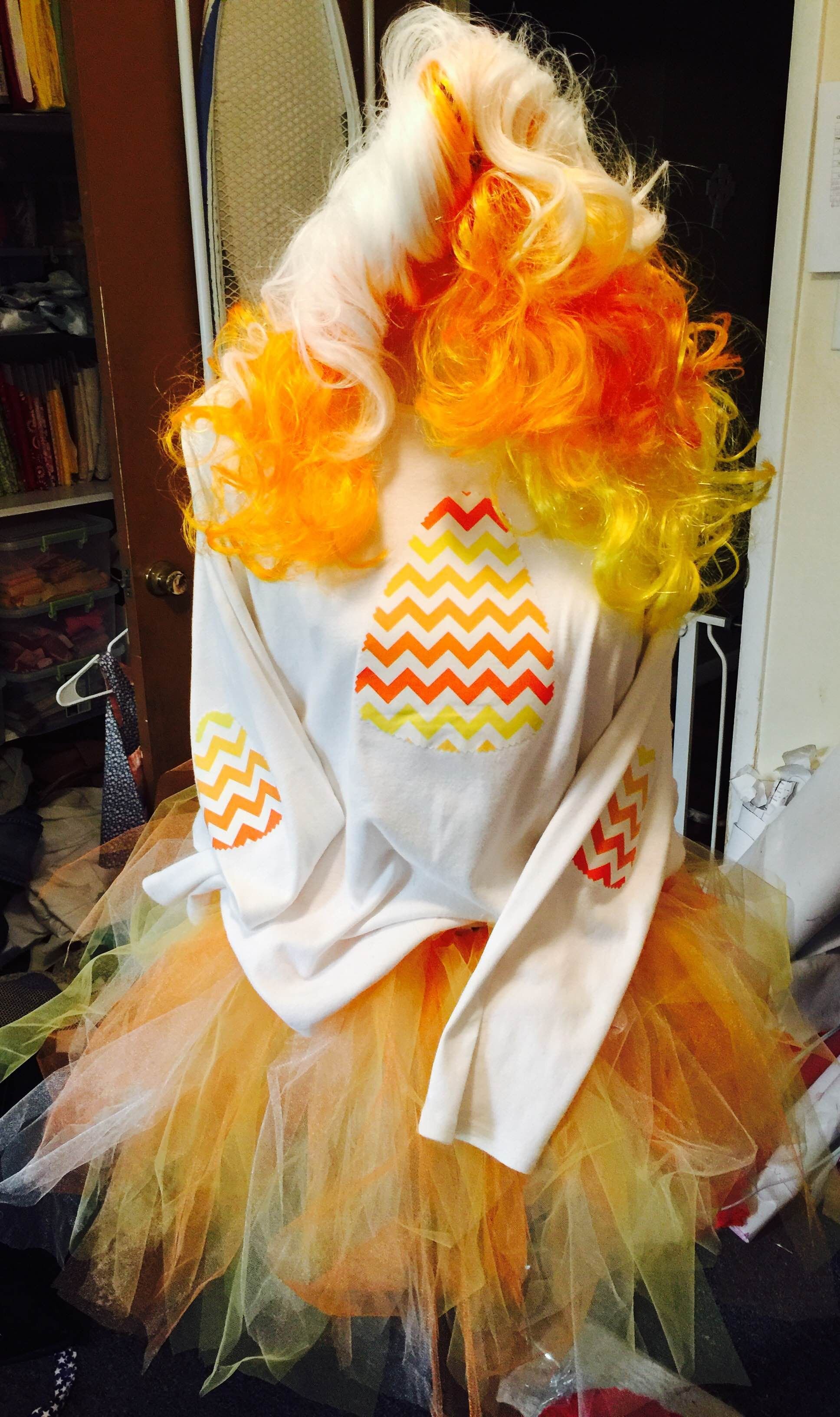 Homemade Candy Corn Costume wig from Party City; old t