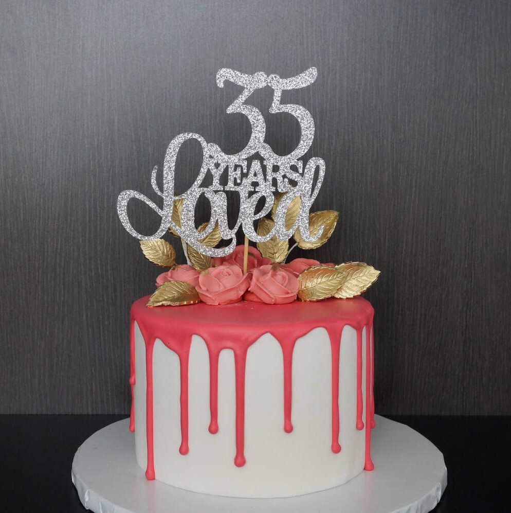 35 Years Loved Cake Topper Anniversary Cake Topper 35th Birthday