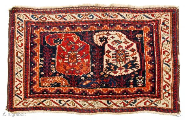 Very nice collectible classic double boteh Afshar bagface, c 1875, good condition with minor wear and a few breaks at the edges. See all large images including the back. Excellent color and  ...