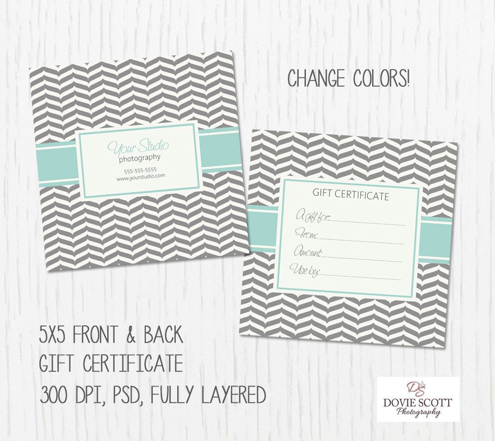 Gift Certificate Card Template Front and Back by DovieScottPhoto ...