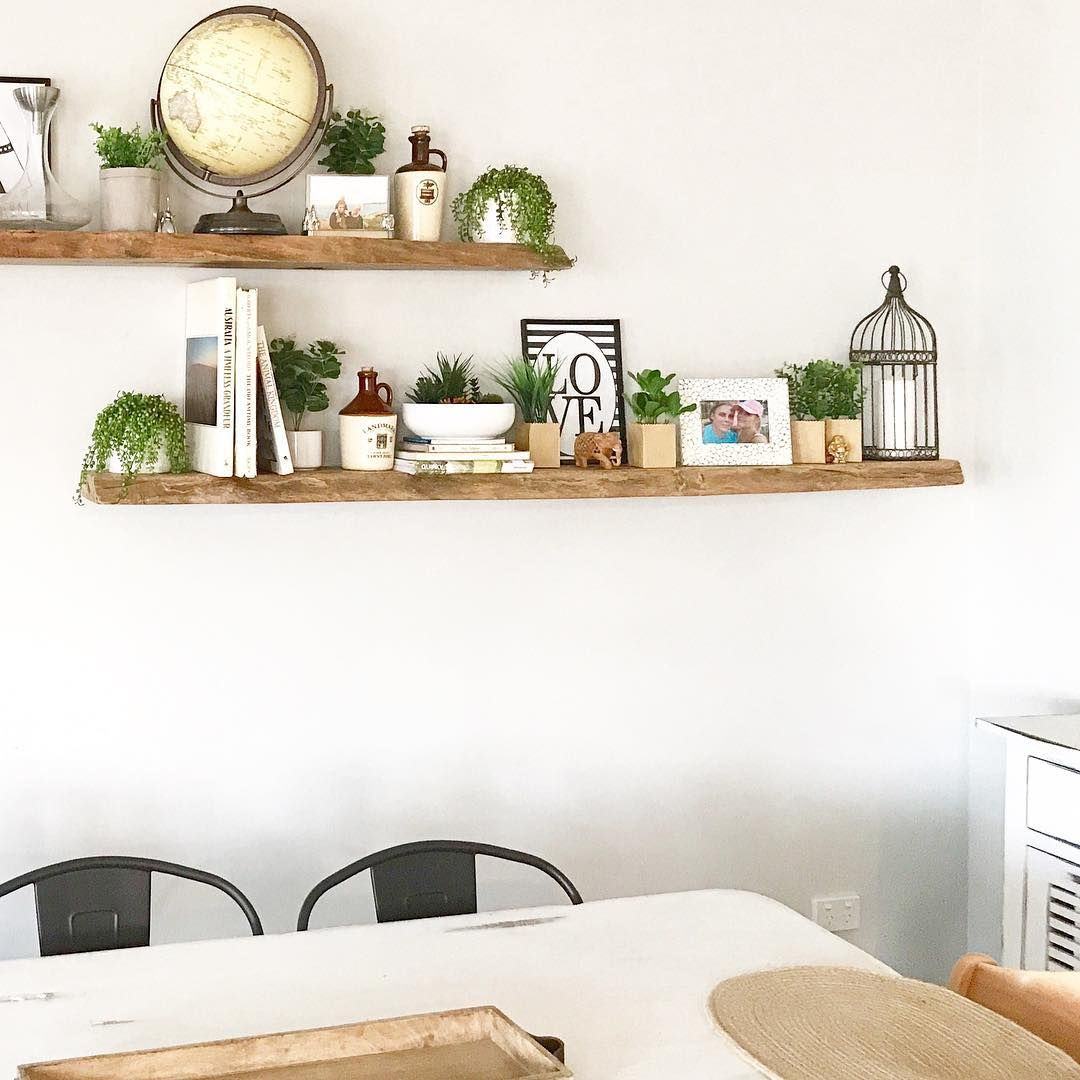 A Little Dining Area With Reclaimed Wood Floating Shelves Is The
