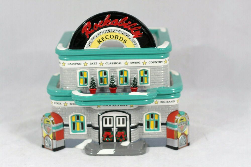 Department 56 Snow Village Rockabilly Records Lighted House Building 54880 #department56