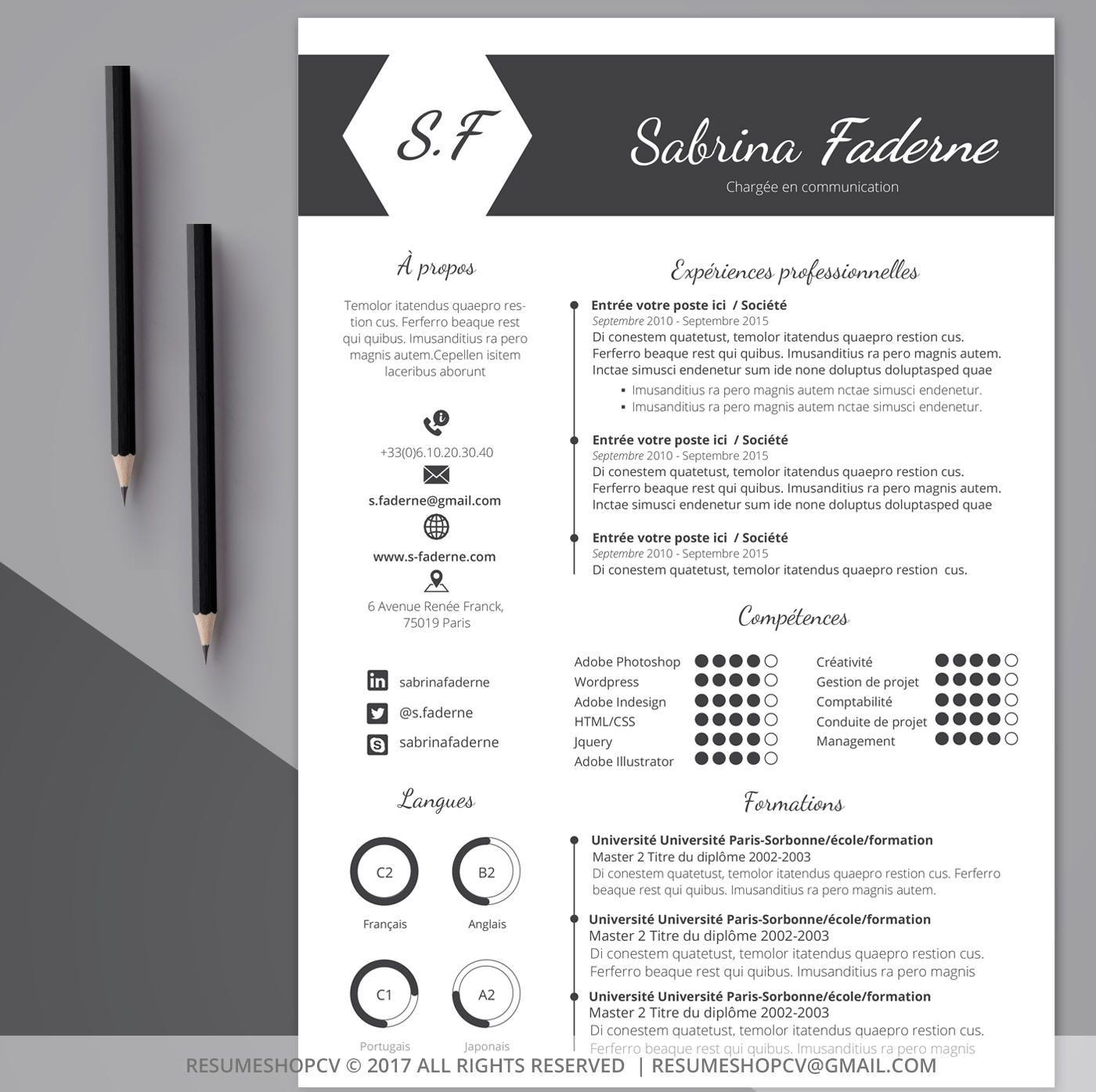 2 cv    curriculum vitae professionnel  moderne et graphique   2 lettres de motivation   pack de