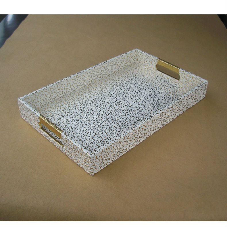 White Decorative Tray 40X25Cm Rectangle Leather Serving Storage Decorative Tray Fruit