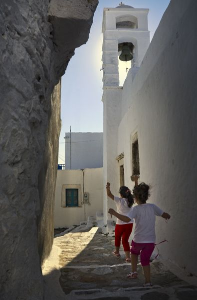 Playing in Chora of Amorgos island Greece