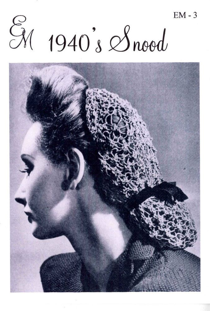1940s Blackberry Hair Snood Knitting Pattern Vintage Reproduction