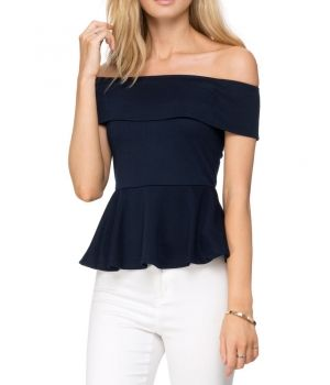 Serene Off Shoulder Top- Navy : $19.00 A slim fit navy color off shoulder top with a stylish fold over detailing is a must have for this season. The peplum waistline gives it a girlie look combined with the sensuous appeal.