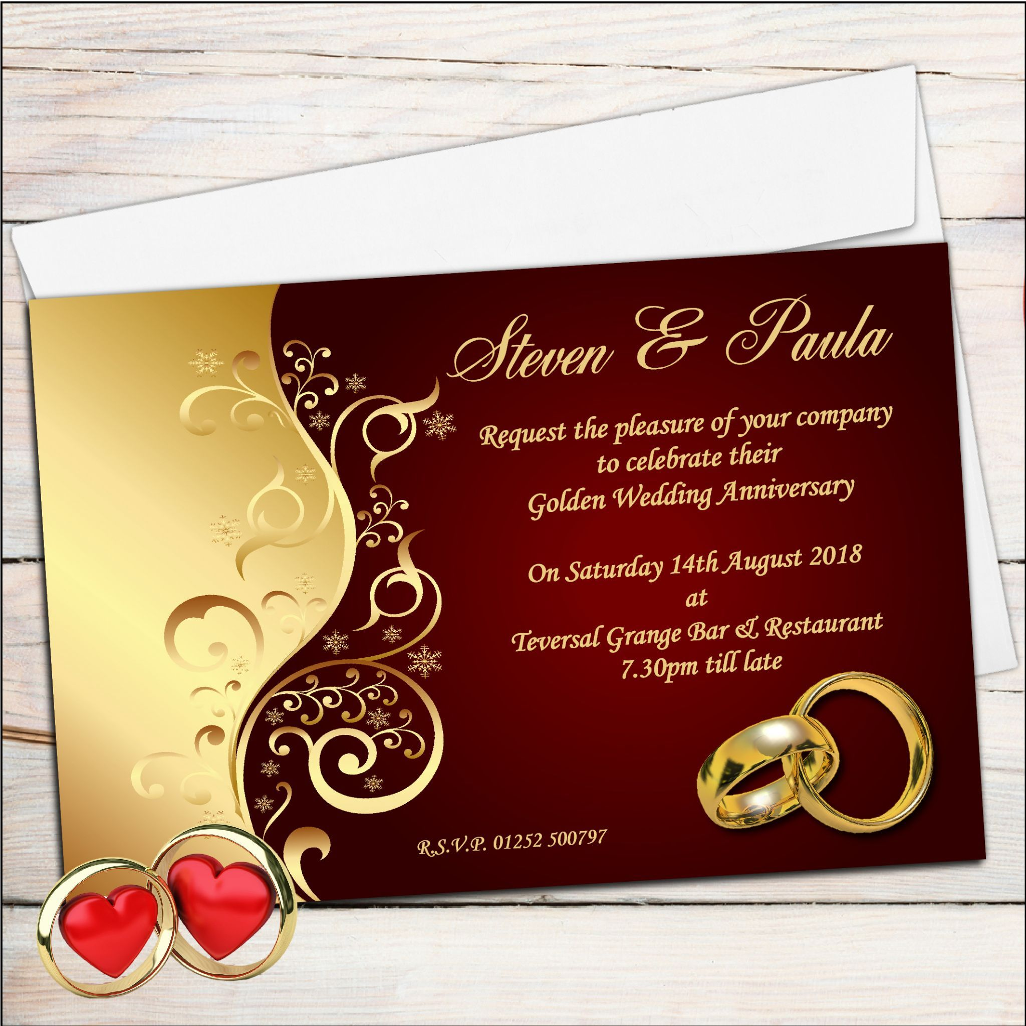 10 Personalised Ruby Wedding Anniversary Invitations N6