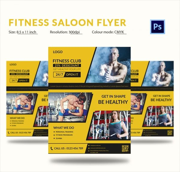 Fitness Salon Flyer Template PSD Format 66+ Beauty Salon Flyer - fitness flyer template