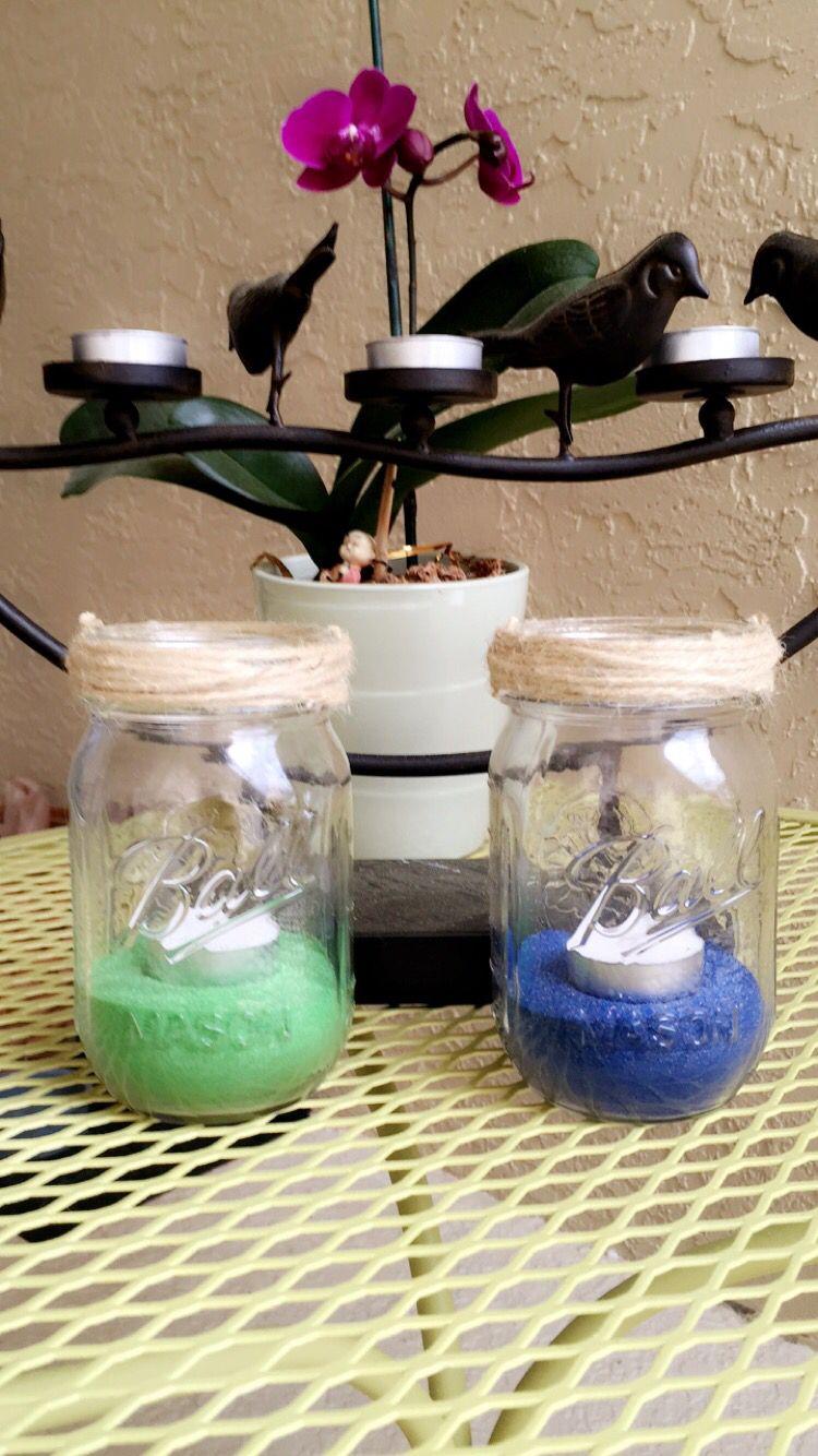 My Diy Simple Mason Jar Color Sand Tea Light Candle Holders