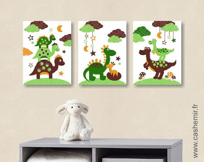 Affiche pour chambre d\'enfant et bébé garçon dinosaure vert marron ...