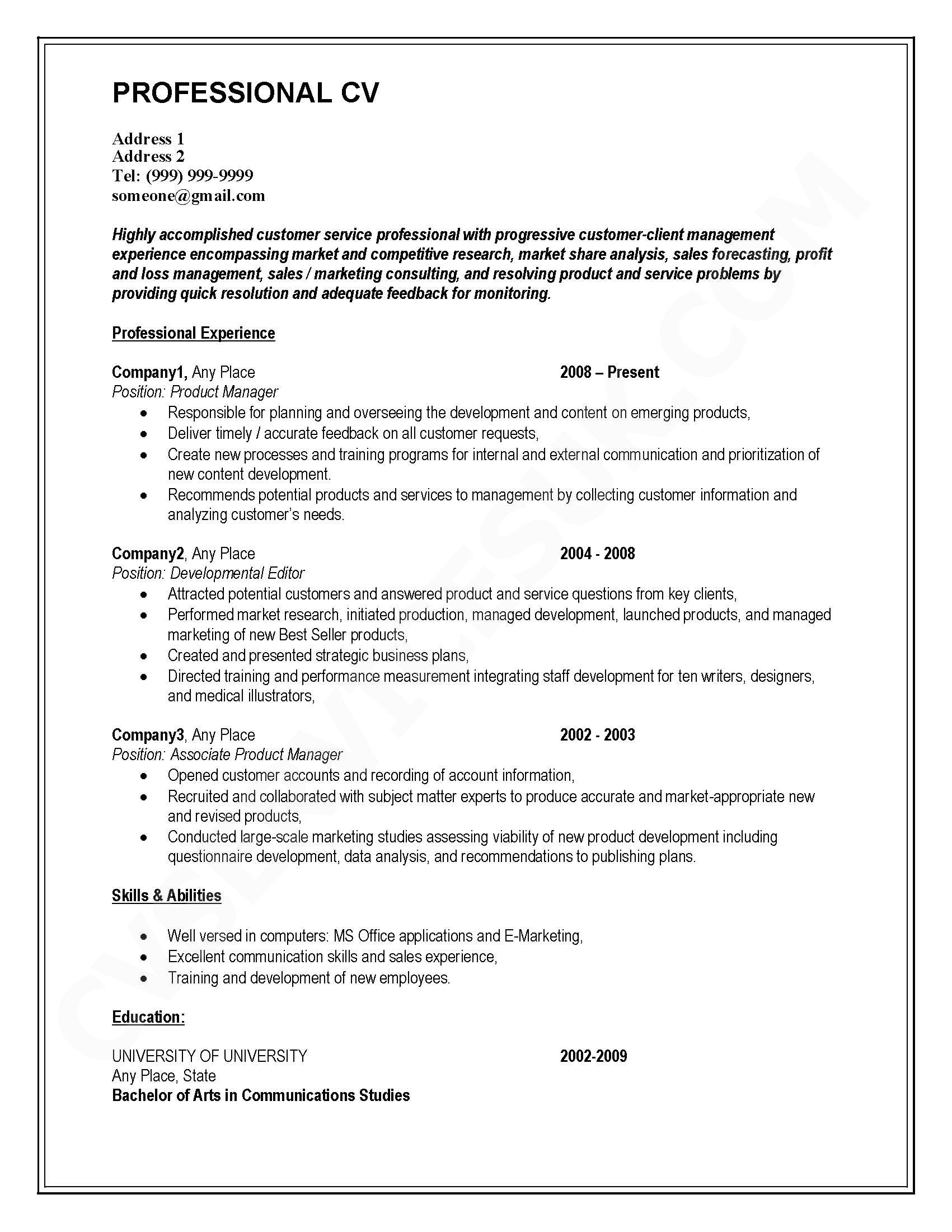 cv writing service business plan