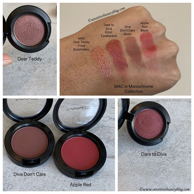 6e38a9374 MAC in Monochrome Collection swatches (dear teddy eyeshadow, dare to diva  eyeshadow, diva don't care blush, and apple red blush)