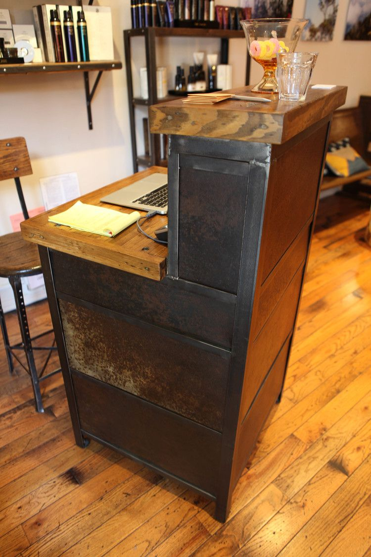 Custom Salon Furniture Made By Brooklyn Reclamation For Little Axe Reception Desk Of Reclaimed Material