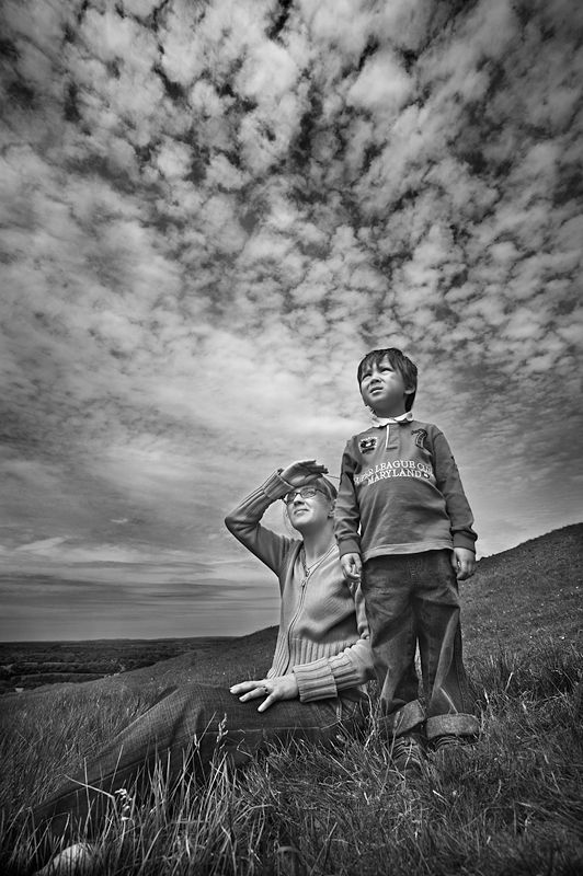 Under the sky black and white photography