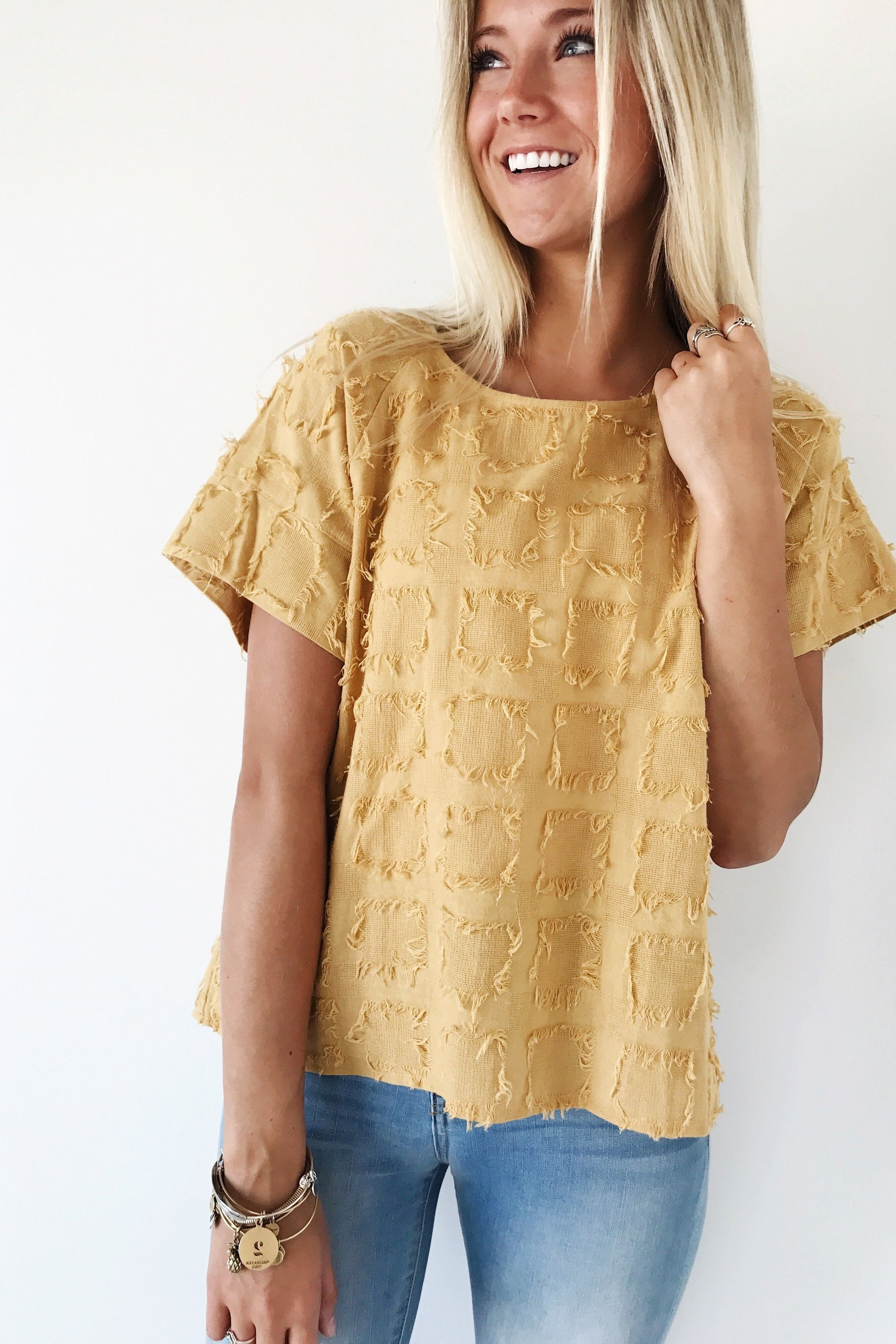 Pieces of Me Fray Top in Gold  Gold and Tops