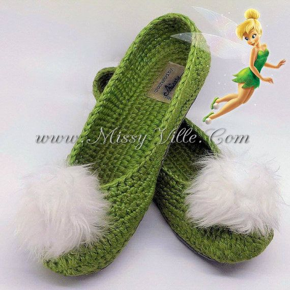 Tinkerbell Fairy Crochet Slippers. Ballet Flats. by MissyVille