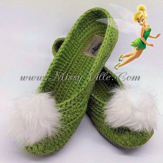 Tinkerbell Fairy Crochet Slippers. Ballet Flats. by MissyVille