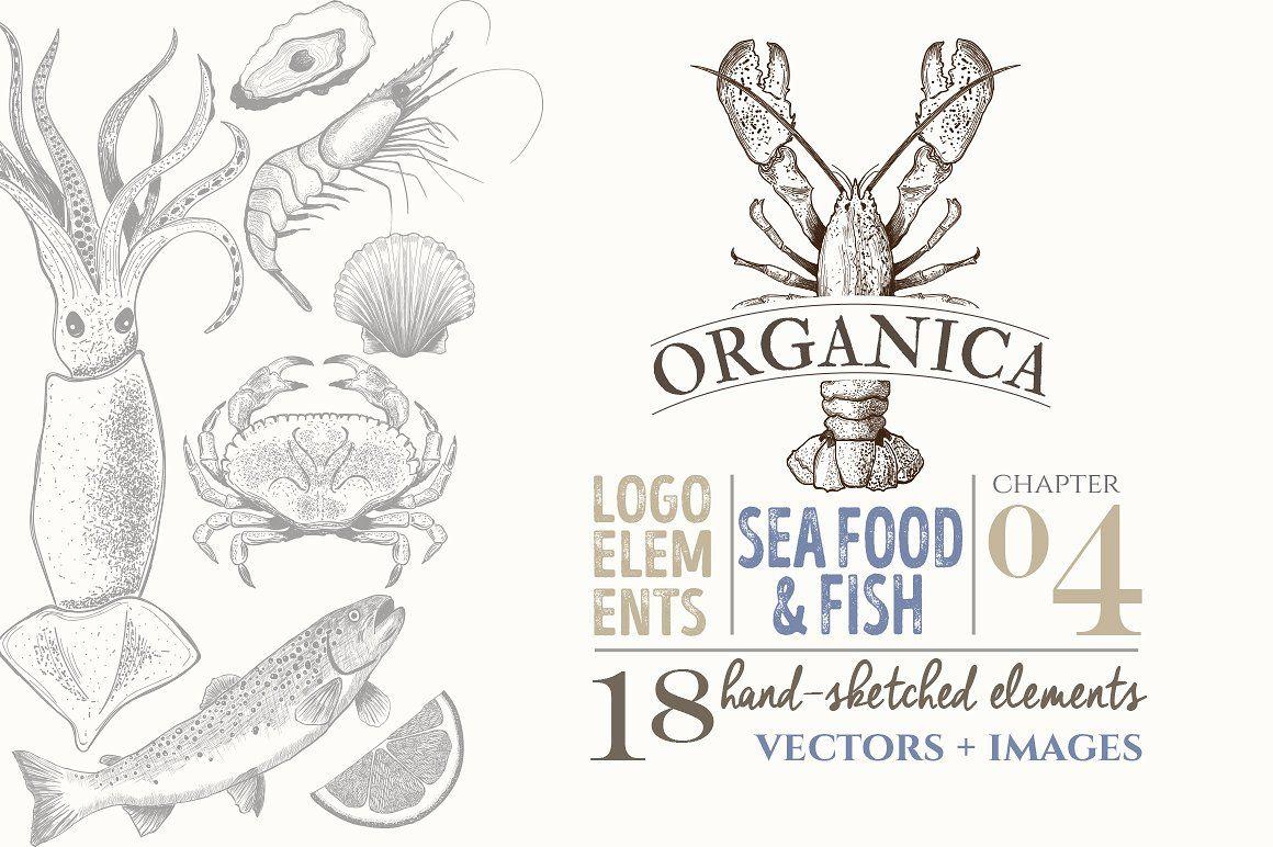 Photo of ORGANIC LOGO ELEMENTS  SEA FOOD FISH by Friendly Label on Creative Market logo, …